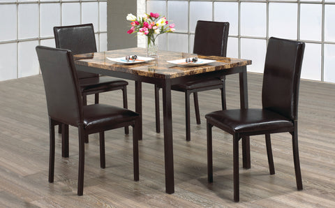 5 Pc Dining Set- Marble Top and Black Metal Legs IF-1520 / 1522 / 524