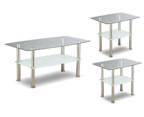 3Pc Coffee Table Set Glass and Chrome  IF-2026