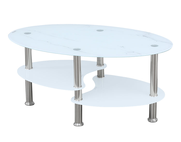 Coffee Table - White Marble Glass   IF-2029
