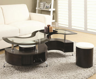 Glass Coffee Table With 2 Stools Set  IF-2050