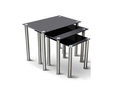 3Pc Nesting Table Set - Glass  IF-2100