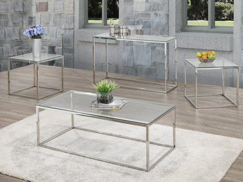 3 Pc Chrome and Glass Coffee Set and Sofa Table  IF-2354 / IF-2355