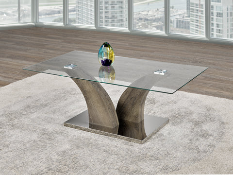 Coffee Table Only - Glass Top, Stainless Steel Base, Wooden Legs  IF-2675