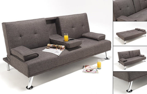 Klick Klack Futon - Grey Fabric with Drop down Tray  IF-372