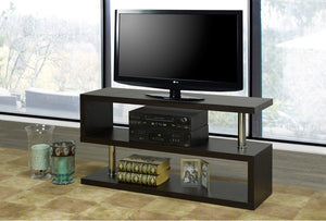 TV Stand - Espresso and Chrome 3 Tier  IF-5017