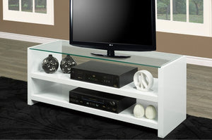 T.V Stand - White with Clear Glass Top  IF-5021