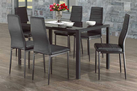7Pc Dining Set with Black Glass  IF-5054