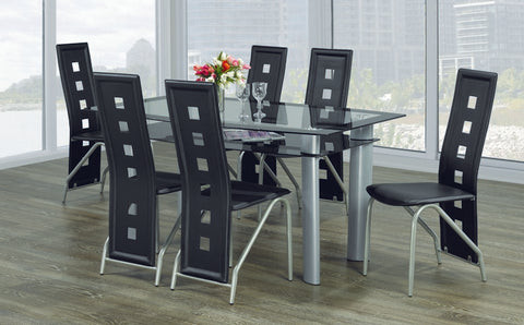 7 Pc Black Glass Dinette Set  IF-5060