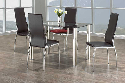 5 Pc Dining Set with Chrome and Glass  IF-5069