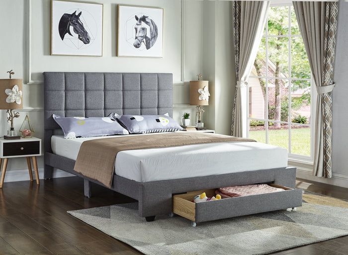 Bed - Grey Fabric Storage Bed IF-5493