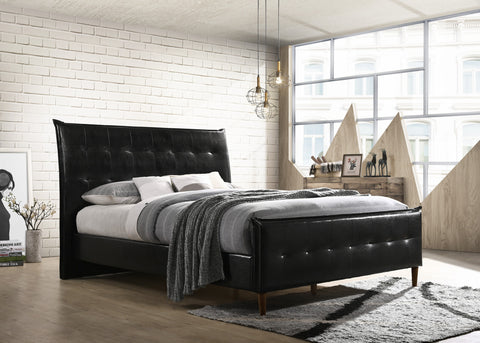 Bed - Black Vinyl with Espresso Wooden Legs  IF-5560