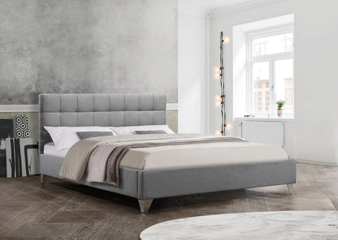 Bed - Grey Upholstered Fabric with Chrome Legs  IF-5710 / 5715
