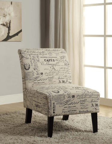 Accent Chair (Beige French Script)