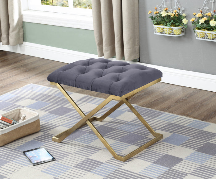 Ottoman - Grey Velvet Seat with Gold Legs IF-6280