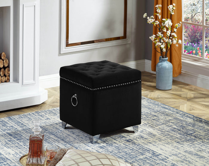 Storage Ottoman - Black Velvet Fabric  IF-6296