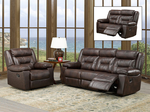 Brown Leather Air Recliner Sofa Set - 3 Piece IF-8040