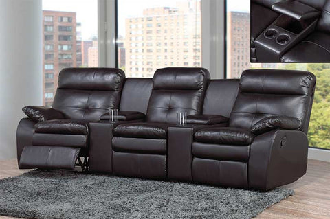 Theater Seating Recliner (Black Bonded Leather)  IF-9075