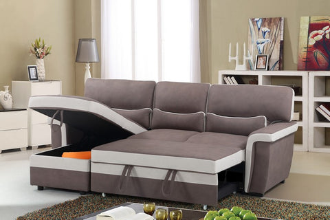 Sectional Sofa Bed - 2 Tone Brown/Beige IF-9415 / 9416