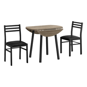 DINING SET - 3PCS SET / DARK TAUPE TOP / BLACK METAL    MN-1003