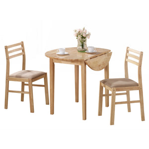 "DINING SET - 3PCS SET / NATURAL WITH A 36""DIA DROP LEAF     MN-1006"