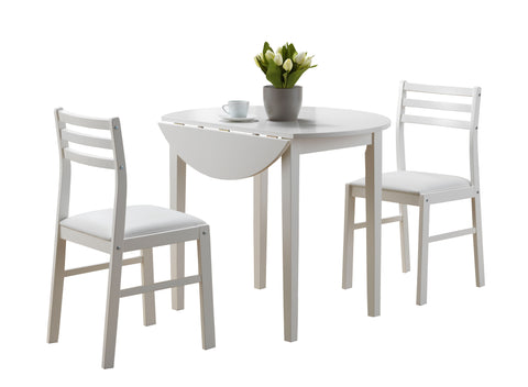 "DINING SET - 3PCS SET / WHITE WITH A 36""DIA DROP LEAF   MN-1008"