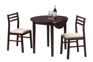 "DINING SET - 3PCS SET / 36""DIA / ESPRESSO W/ DROP LEAF    MN-1009"
