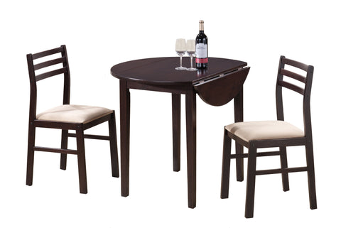 "DINING SET - 3PCS SET / 36""DIA / CAPPUCCINO W/ DROP LEAF   MN-1009"