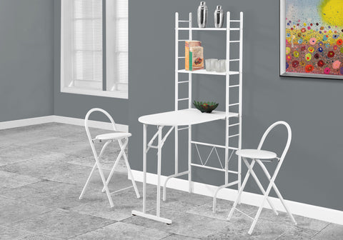 DINING SET - 3PCS SET / WHITE TOP / WHITE METAL    MN-1010
