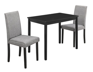 DINING SET - 3PCS SET / BLACK / GREY LINEN PARSON CHAIRS    MN-1016