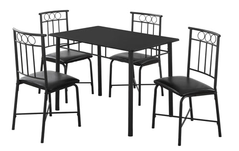 DINING SET - 5PCS SET / BLACK METAL AND TOP  I-1018
