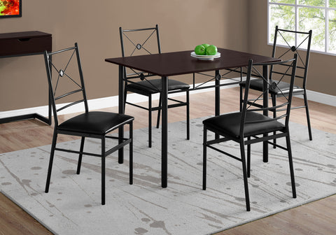 DINING SET - 5PCS SET / CAPPUCCINO / BLACK METAL   MN-1023