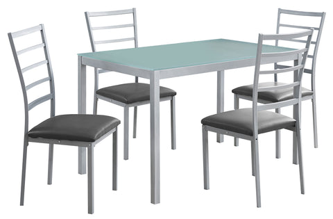 DINING SET - 5PCS SET / SILVER / FROSTED TEMPERED GLASS  MN-1026