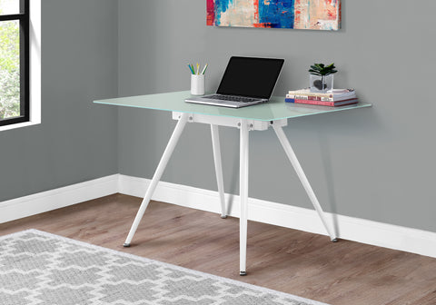 "COMPUTER DESK - 28""X 48"" / WHITE / 8MM TEMPERED GLASS   MN-1032"