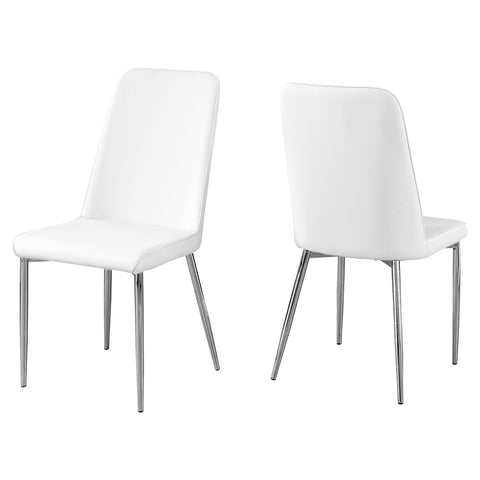 "DINING CHAIR - 2PCS / 37""H / WHITE LEATHER-LOOK / CHROME  MN-1033"