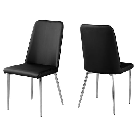 "DINING CHAIR - 2PCS / 37""H / BLACK LEATHER-LOOK / CHROME  MN-1034"