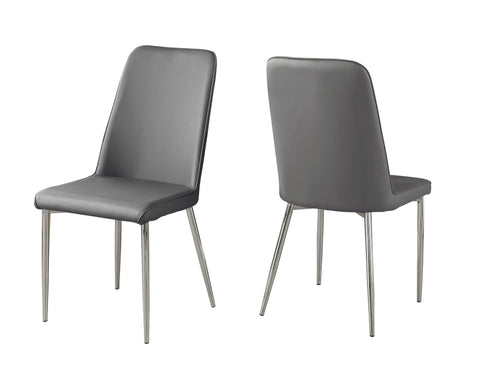 "DINING CHAIR - 2PCS / 37""H / GREY LEATHER-LOOK / CHROME  MN-1035"