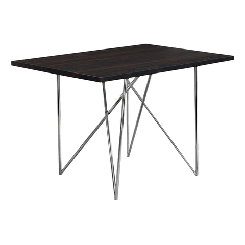 "DINING TABLE - 32""X 48"" / CAPPUCCINO / CHROME METAL  I-1039"