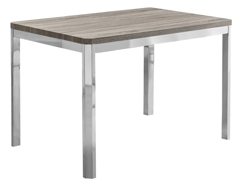 "DINING TABLE - 32""X 48"" / DARK TAUPE / CHROME METAL  I-1042"