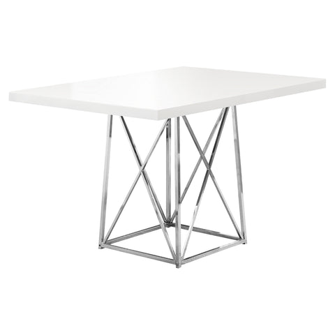 "DINING TABLE - 36""X 48"" / WHITE GLOSSY / CHROME METAL   MN-1046"