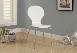 "DINING CHAIR - 4PCS / 34""H / WHITE BENTWOOD/ CHROME METAL    MN-1048"