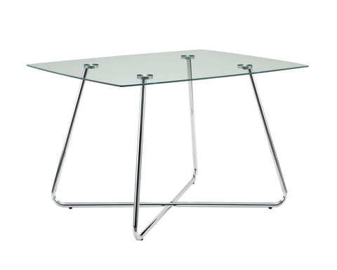 "DINING TABLE - 36""X 48"" / CHROME WITH 8MM TEMPERED GLASS  MN-1069"
