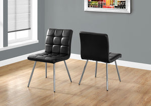 "DINING CHAIR - 2PCS / 32""H / BLACK LEATHER-LOOK / CHROME     MN-1073"