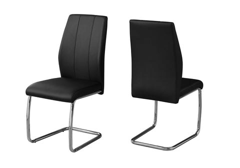 "DINING CHAIR - 2PCS / 39""H / BLACK LEATHER-LOOK / CHROME  I-1076"