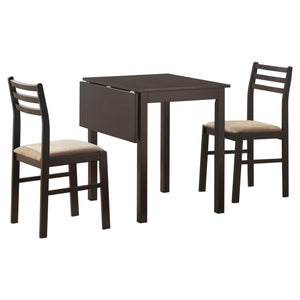 DINING SET - 3PCS SET / ESPRESSO SOLID-TOP DROP LEAF    MN-1078