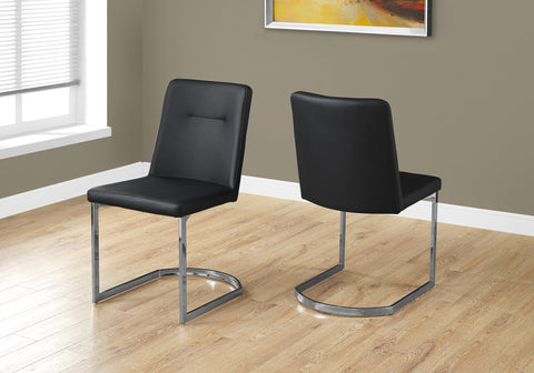 "DINING CHAIR - 2PCS / 34""H / BLACK LEATHER-LOOK / CHROME   MN-1083"