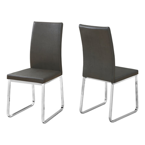 "DINING CHAIR - 2PCS / 38""H / GREY LEATHER-LOOK / CHROME  MN-1094"
