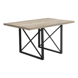 "DINING TABLE - 36""X 60"" / DARK TAUPE / BLACK METAL  I-1100"