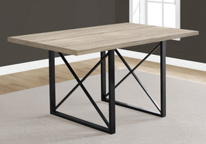 "DINING TABLE - 36""X 60"" / DARK TAUPE / BLACK METAL    MN-921100"