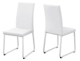 "DINING CHAIR - 2PCS / 38""H / WHITE LEATHER-LOOK / WHITE  I-1102"