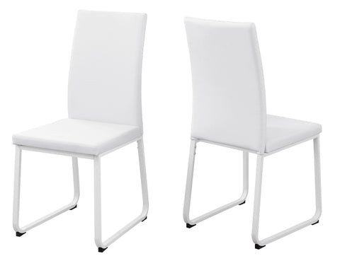 "DINING CHAIR - 2PCS / 38""H / WHITE LEATHER-LOOK / WHITE  MN-1102"